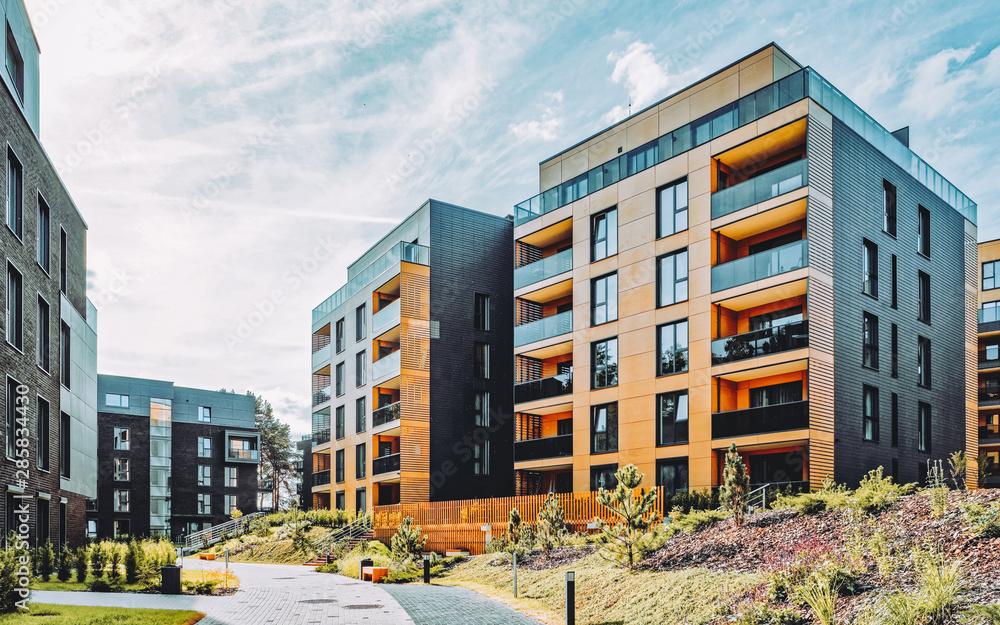 Fototapeta Modern architecture of residential building quarter