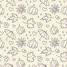 Autumn. Fall. Cute Vector Seamless Pattern With Autumn Maple Leaves, Pumpkins, Umbrellas.