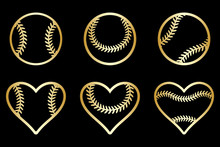 Baseball Ball Laser Cut Template Set, Isolated Vector Icon Collection. Template For Vinyl Cut, Embroidery, Sports Emblem, Vector.