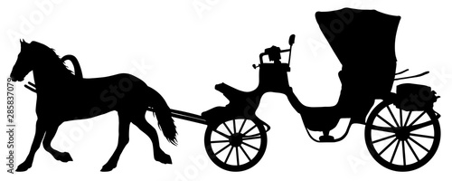 Obraz na płótnie Horse carriage silhouette. Horse cart vector