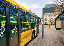 Yellow Bus With Entrance Door For People With Disability Berlin