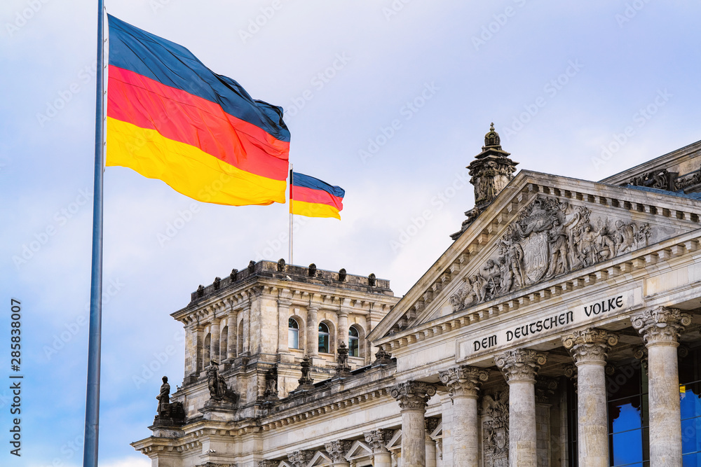 Fototapety, obrazy: Reichstag building architecture and German Flags at Berlin
