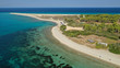 Aerial drone photo of iconic exotic sandy peninsula and sandy beach of Possidi with turquoise clear sea, Kassandra, Halkidiki, North Greece