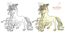 Fairytale Unicorn In A Magnificent Wreath Of Roses Color And Outlined Picture For Coloring Book On White Background