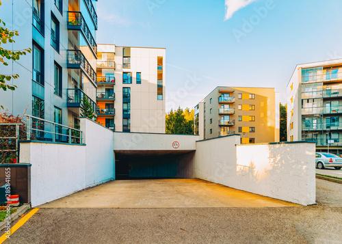 New residential apartment house building and garage and parking Tapéta, Fotótapéta