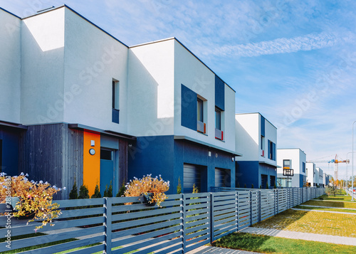 Apartment house and home residential building complex with gate