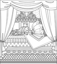 Little Princess Sleeping On A High Bed With Many Mattresses And Canopy Outlined Picture For Coloring Book On White Background