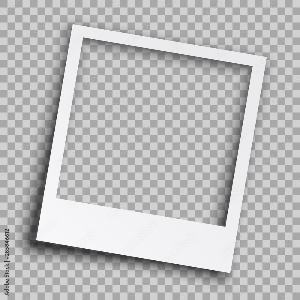 Fototapety, obrazy: Empty white photo frame with shadows - vector