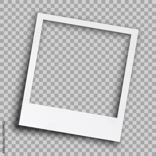 Empty white photo frame with shadows - vector Wall mural