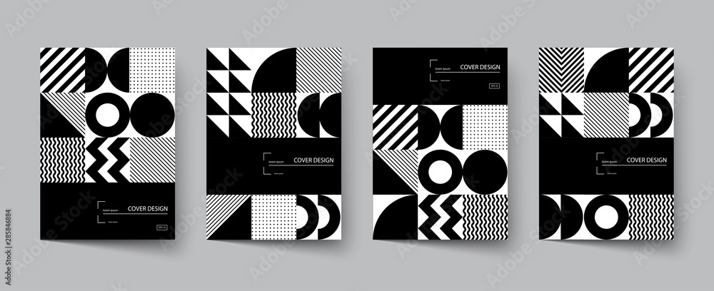 Fototapeta Trendy covers design. Minimal geometric shapes compositions.