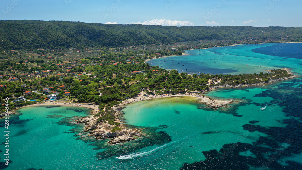 Fototapety, obrazy: Aerial drone photo of iconic turquoise paradise sandy twin beaches of Karidi in Sithonia Peninsula, Vourvourou bay, Halkidiki, North Greece
