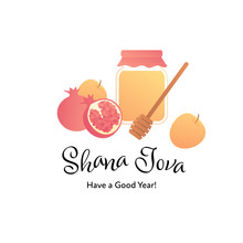 "Vector Modern Flat Israel New Year Celebration Banner Template Design. Hebrew Text Shana Tova Means ""Happy New Year"" With Apple, Pomegranate And Honey Jar And Stick Symbol Isolated On White Background"