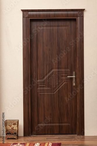 close up for wooden door Canvas Print