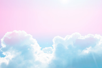 Panel Szklany 3D Pink-blue pastel color sky and white clouds outdoors beautiful background on summer.