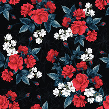 Seamless Pattern Floral Red Ro...