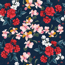 Seamless Pattern Floral Beautiful Red Rose, Hibiscus,white Magnolia And Lilly Flowers On Black Background.Vector Illustration Hand Drawing Line Art.