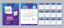 Desk Calendar 2020 Template, Cover Design. Week Starts On Sunday, Set Of 12 Months, Planner Template. Blue And Purple Gradient Background, Vertical Page, Vector Eps10.