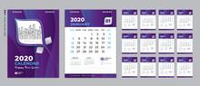 Desk Calendar 2020 Template, Cover Design. Week Starts On Sunday, Set Of 12 Months, Planner Template. Purple Gradient Background, Vertical Page, Vector Eps10.