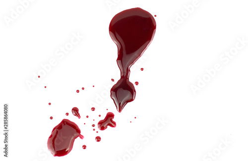 Fotomural  Drops of blood on a white background, Top view Blank for design.
