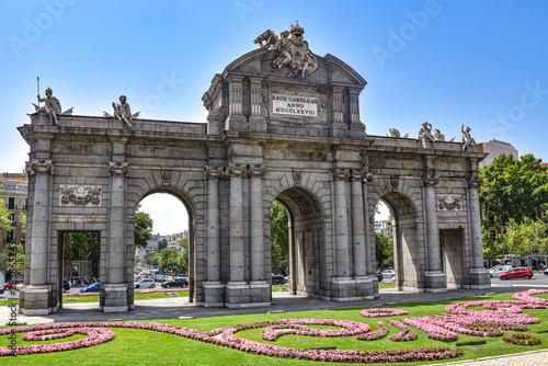 Madrid, Spain - July 22, 2019: Puerta de Alcala arch in Plaza de la Independenci Canvas