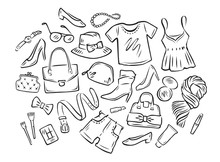 Women's Clothing Collection. Fashion Sketch Vector Illustration