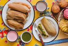 Mexican Tamales Of Corn Leaves With Green Sauce And Atole, Tamales Breakfast In Mexico