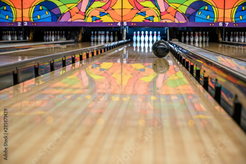 Photo bowling alley with gutter guards in place
