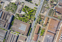 Aerial Top View Of Roofs Of In...