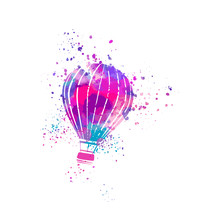 Hot Air Balloon Isolated On Wh...