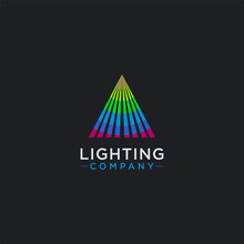 Triangle Of Spot Lighting Logo Icon Vector Template On Dark Background
