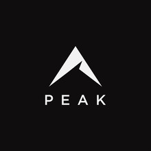 Abstract Mountain Peak Logo Icon Vector Template On Black Background