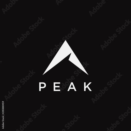 Valokuva Abstract mountain peak logo icon vector template on black background
