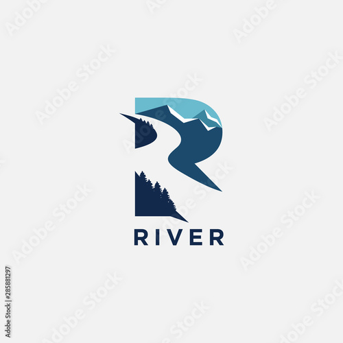 R letter for river logo icon inspiration Wall mural