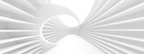 Fototapeta Perspektywa 3d - White Circular Building. Modern Geometric Wallpaper. Futuristic Technology Design