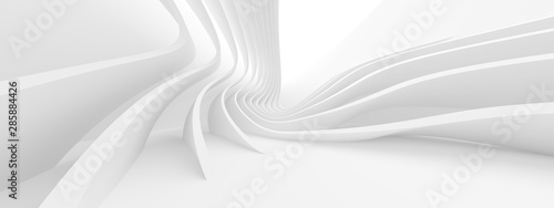 In de dag Abstract wave Abstract Architecture Background. 3d Rendering of White Circularl Building