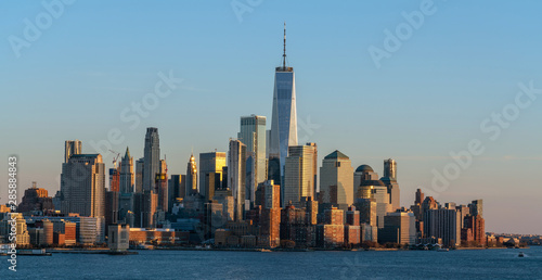 Banner of Lower Manhattan which is a apart of New york cityscape river side whic Canvas Print