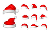 Santa Claus hat 3D set. Realistic Santa Claus hat isolated on white background. Red funny cap silhouette. Merry Christmas clothes cute design. New year decoration wear costume. Vector illustration - 285887422