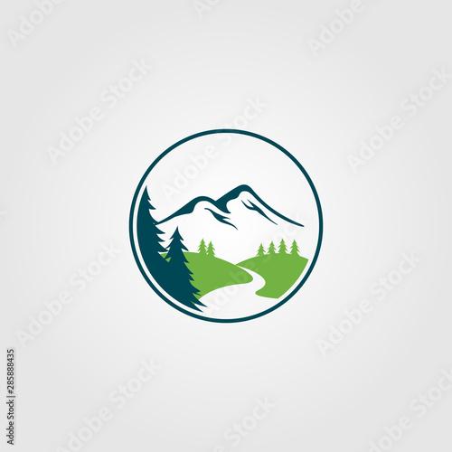 adventure pine tree creek nature river logo vector design Poster Mural XXL
