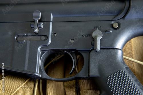 Fotografía  close up of m4 carbine, black rifle, assault rifle