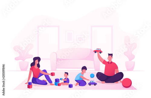 Obraz Happy Family with Kids Leisure Time in Evening or Weekend. Father and Mother Playing Toys with Children Sitting on Floor. Mom Dad and Little Sons Loving Relation. Cartoon Flat Vector Illustration - fototapety do salonu