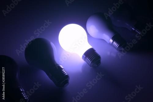 Photo  Lamp unique business concept self illumination background 3D illustration