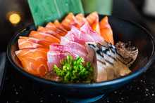 Salmon,tuna,saba Sashimi, Raw ...