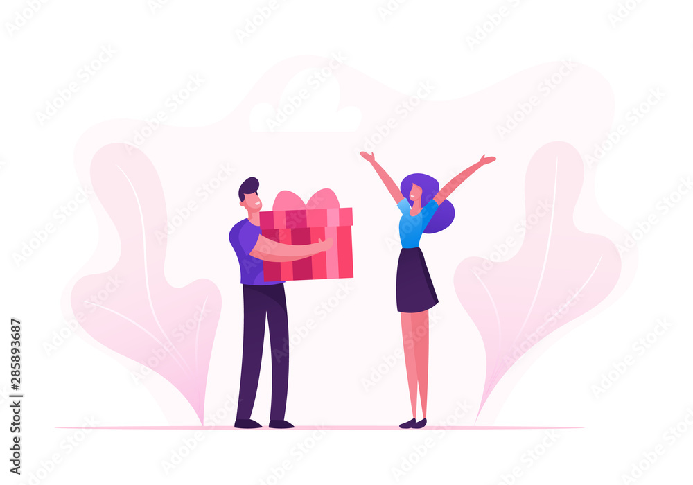 Fototapety, obrazy: Loving Boyfriend Presenting Huge Wrapped Gift Box to Girlfriend on Happy Valentine Day, Birthday or any Holiday. Man and Woman in Relations. Happiness Surprise Love Cartoon Flat Vector Illustration