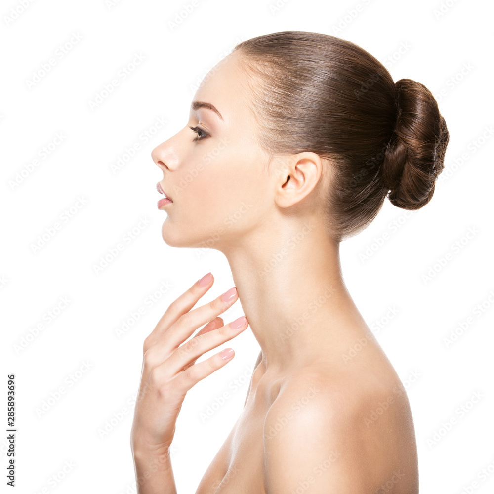 Fototapety, obrazy: Beautiful woman cares for the neck