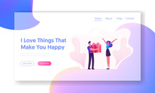 Loving Boyfriend Presenting Gift To Girlfriend Website Landing Page. Happy Valentine Day, Birthday Or Holiday Surprise. Man And Woman In Relations Web Page Banner. Cartoon Flat Vector Illustration