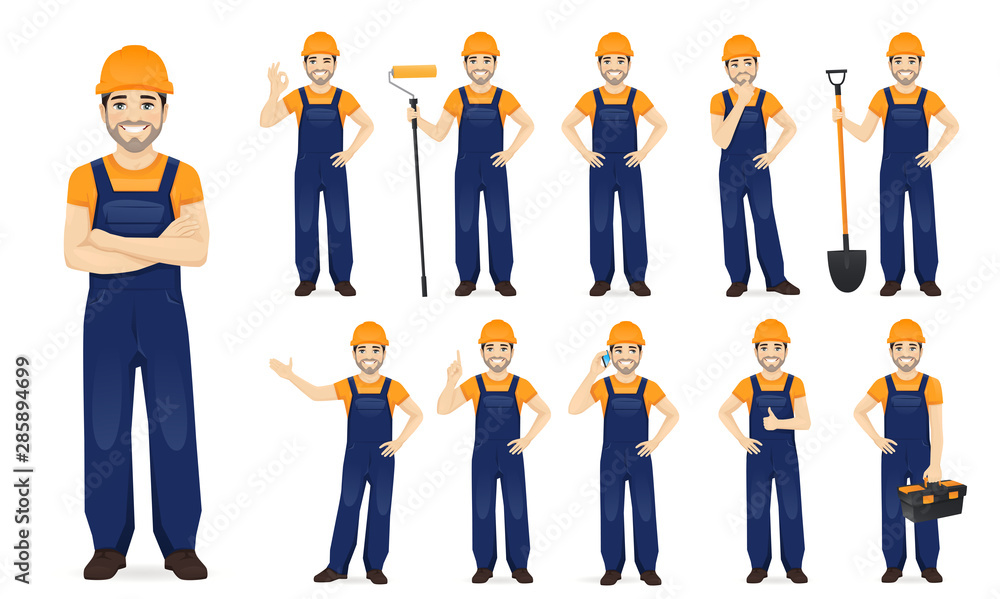 Fototapeta Constarction worker. Man in blue overalls set with different gestures isolated vector illustration