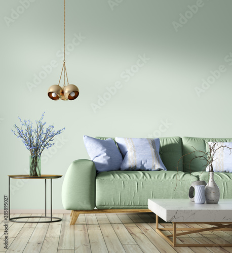 Interior of living room with green sofa 3d rendering Fototapete