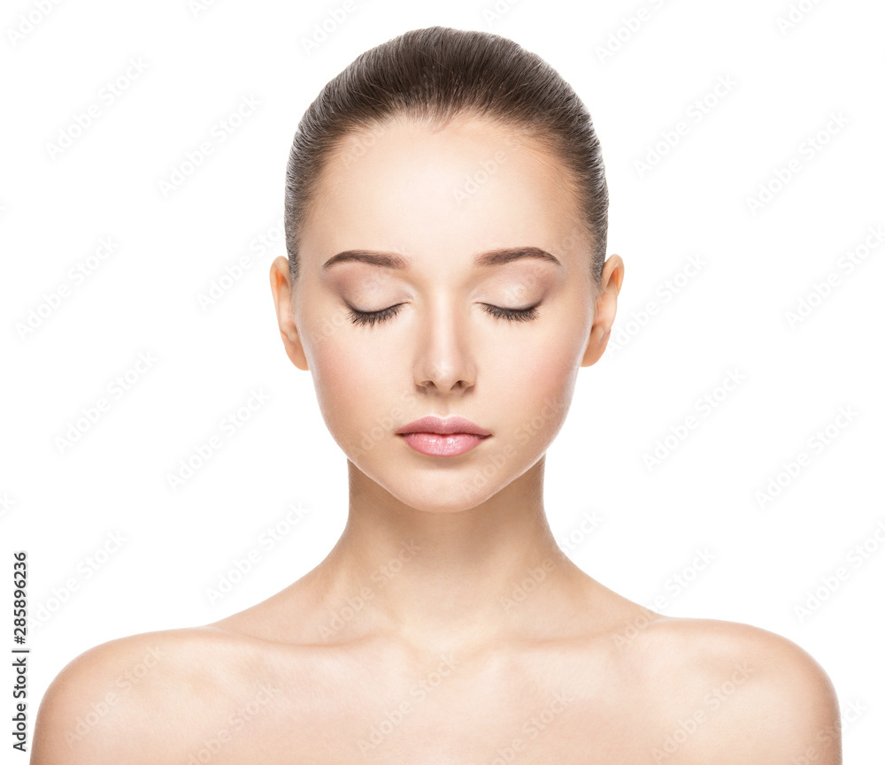 Fototapety, obrazy: Face of a beautiful girl with closed eyes closeup
