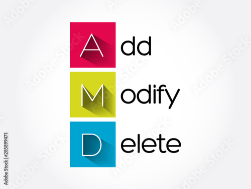AMD - Add, Modify, Delete acronym, business concept background Canvas Print