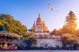 Fototapeta Fototapety Paryż - Basilica Sacre Coeur in Montmartre in Paris, France. The Basilica of the Sacred Heart (Sacre Coeur Basilica). Montmartre, Paris, France. Paris. Basilica Sacre-Coeur. On the hill Montmartre. Paris.